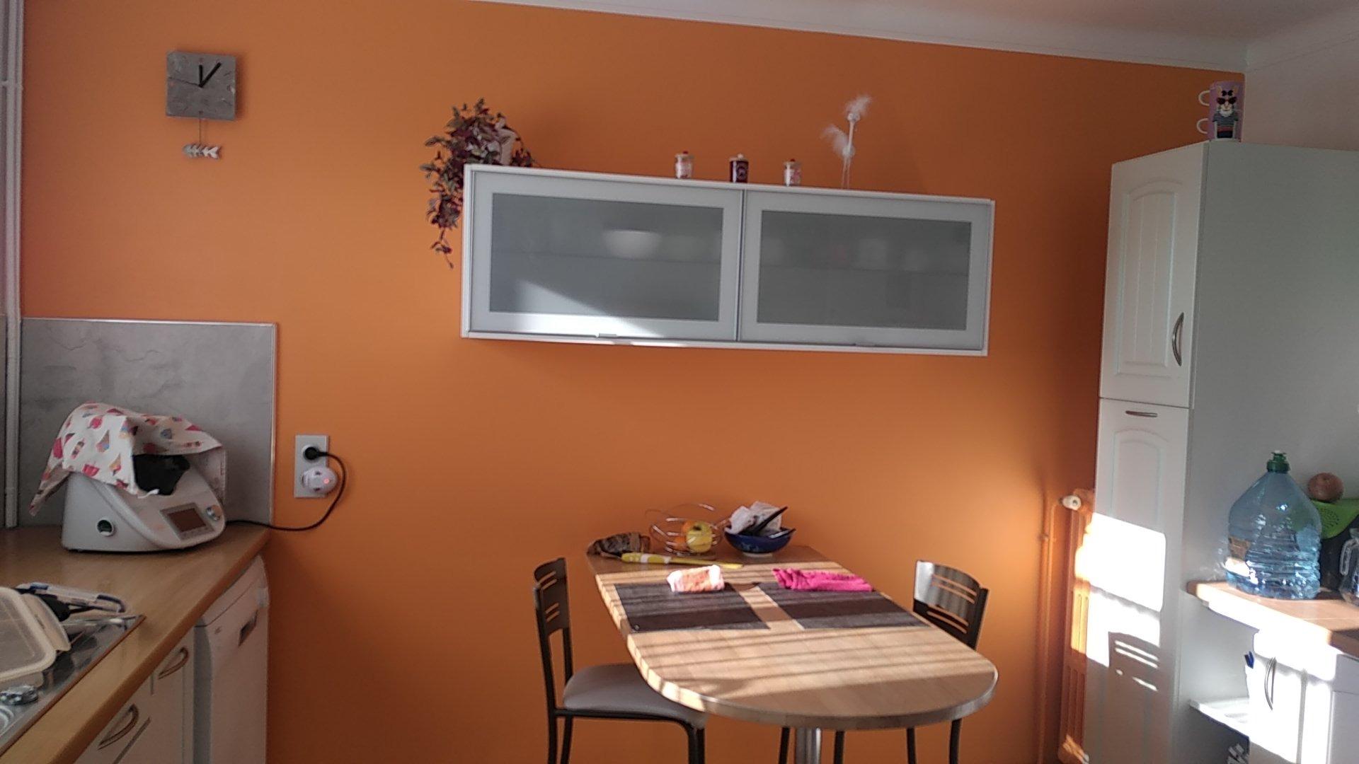 Rénovation voile de mur couleur d'une cuisine avec création de petites étagères